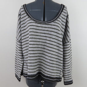 Free People | Striped Oversized Fuzzy Sweater (A6)
